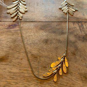 Express Gold Asymmetrical Modern Leaf Necklace